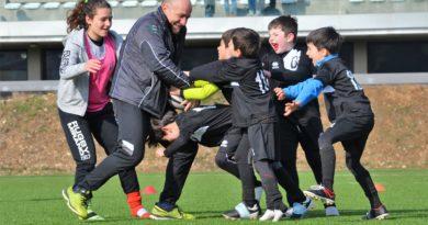 L'Under 8 di Rugby Mirano in un momento di riscaldamento, nello scatto di Reika Rorato.