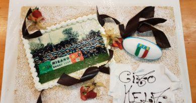"""La torta realizzata in onore di Renato """"Kela"""" Scanferla."""