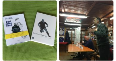 Le copertine dei libri presentati ieri sera in Club House e, sulla destra, un momento della presentazione.