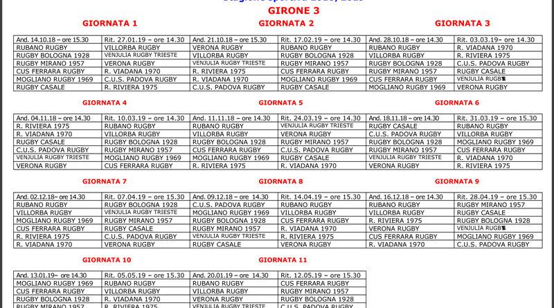 Calendario Di Serie B.Serie B Ecco Il Calendario Rugby Mirano 1957 A S D