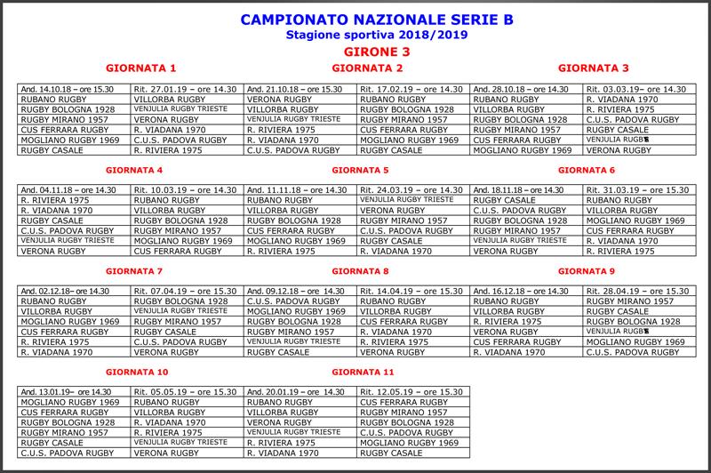 Calendario Serie B 18 19.Serie B Ecco Il Calendario Rugby Mirano 1957 A S D