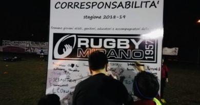 il momento della sottoscrizione del Patto Educativo di Corresponsabilità da parte dei giovani atleti di Rugby Mirano 1957 ASD